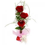 3 Red Roses With Glass Vase And Bear