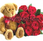 Teddy Bear and Bouquet