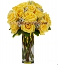 One Dozen  Stemmed Yellow Roses