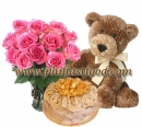 Teddy rose and cake